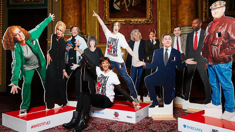 Miranda Hart shows off Comic Relief donation statues incorporating contactless payment technology