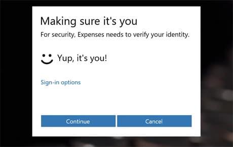 Microsoft Hello biometric authentication