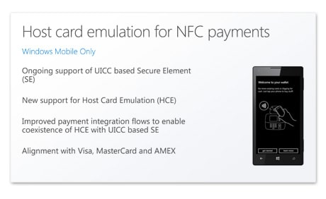 Windows 10 for mobile with HCE for mobile payments