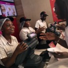 Mobile payments being made for meals at a KFC fast-food outlet in Accra, Ghana