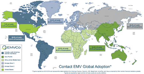 EMVCo world map 2015 of EMV usage