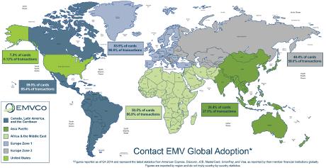 EMVCo world map 2015 of EMV usage