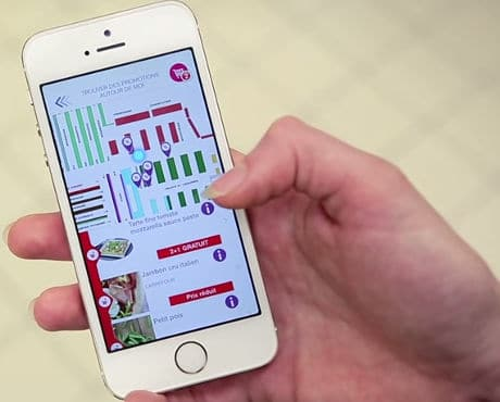 Carrefour shopper uses app linked to LED lighting in Lille to find in-store offers