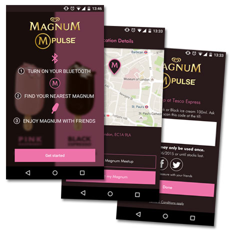 The Magnum M-Pulse app helps Londoners track down discounted ice cream treats