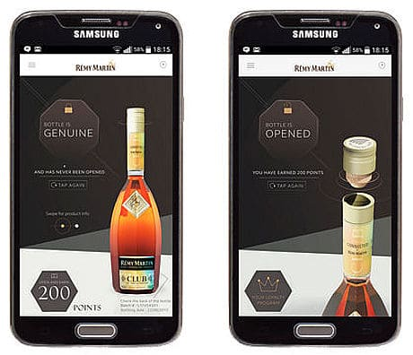 Remy Martin Connected Bottle NFC tag and app