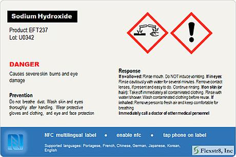 FlexStr8 NFC chemical warning label