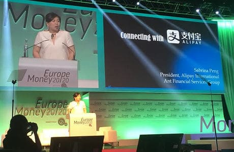 Alipay's Sabrina Peng on stage at Money20/20