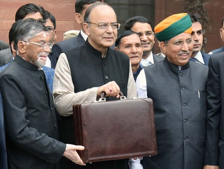 The Union Minister for Finance and Corporate Affairs, Shri Arun Jaitley departs from North Block to Rashtrapati Bhavan and Parliament House, along with the Minister of State for Finance and Corporate Affairs, Shri Arjun Ram Meghwal and the Minister of State for Finance, Shri Santosh Kumar Gangwar to present the General Budget 2017-18, in New Delhi on February 01, 2017.