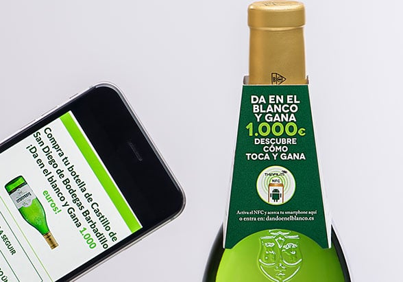 A tap of an Android phone against an NFC bottle neck collar starts the competition entry