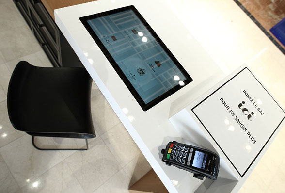 An NFC digital showroom station at Galeries Lafayette