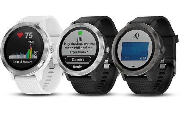 Garmin Vivoactive 3 smartwatches in three colours