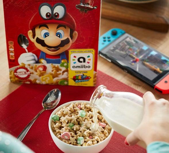 Super Mario Cereal in a bowl
