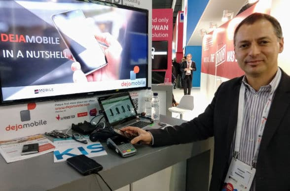 Dejamobile CEO Houssem Assadi demonstrates seamless account opening at Mobile World Congress