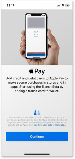 Users are invited to add a transit card to their Apple Wallet