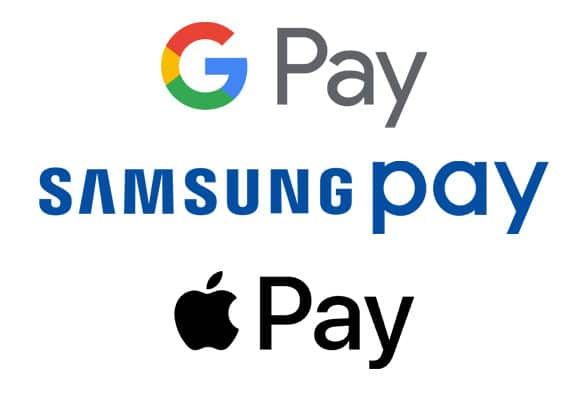 OEM Pay logos: Google Pay, Samsung Pay, Apple Pay