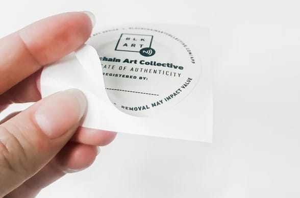 An NFC tag is used as a certificate of authenticity by the Blockchain Art Collective