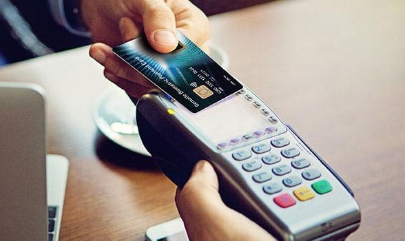 A biometric card in use