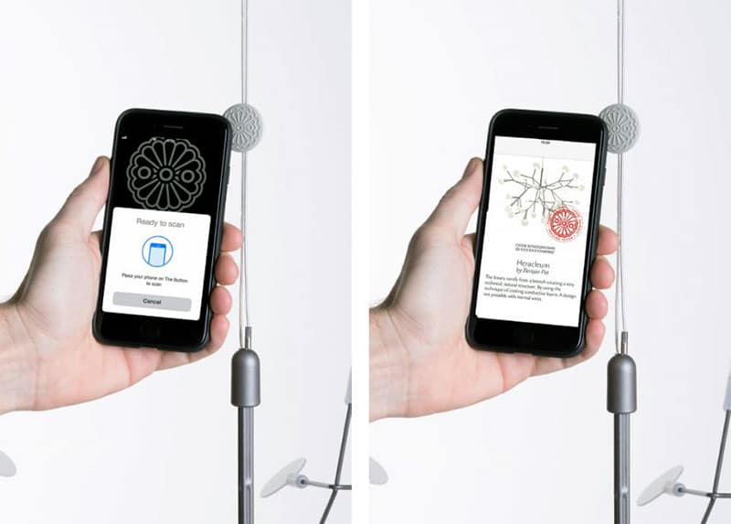 An embedded NFC tag supplies a tap-unique URL to verify the product is from Moooi