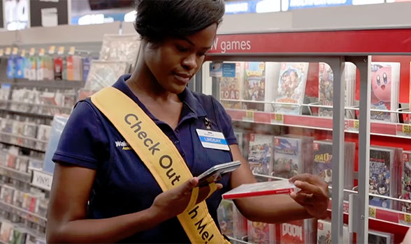 Clearly visible store assistants will wander Walmart's aisles, taking payments and issuing receipts on the spot