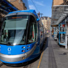 A West Midlands Metro tram stands at the Grand Central stop in Birmingham