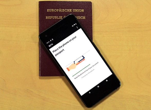 Scanning a passport with an NFC phone