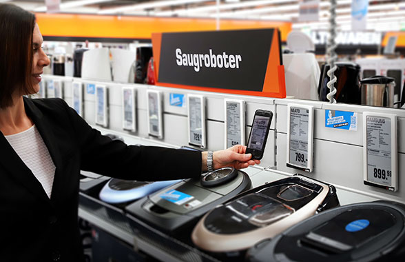 Scanning smart shelf-edge labels in a Saturn store