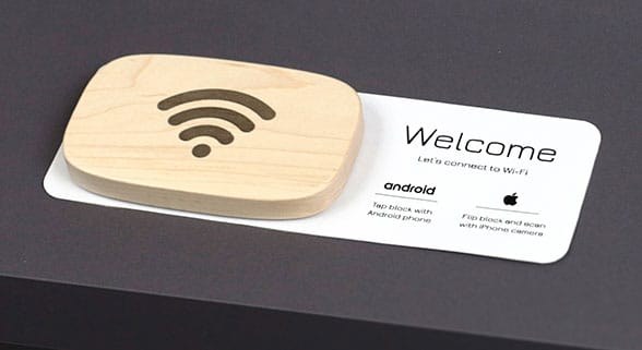 WiFi Porter is a maple puck with a built-in NFC tag that connects guests to your WiFI