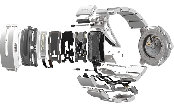 An exploded view of the Wena watch strap shows its internal components
