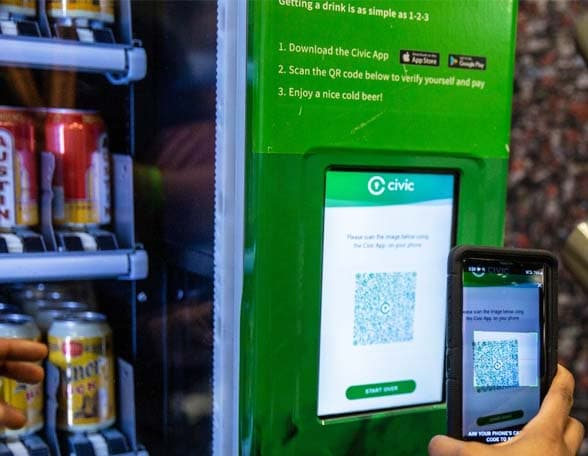 Automated vending machine and smartphone