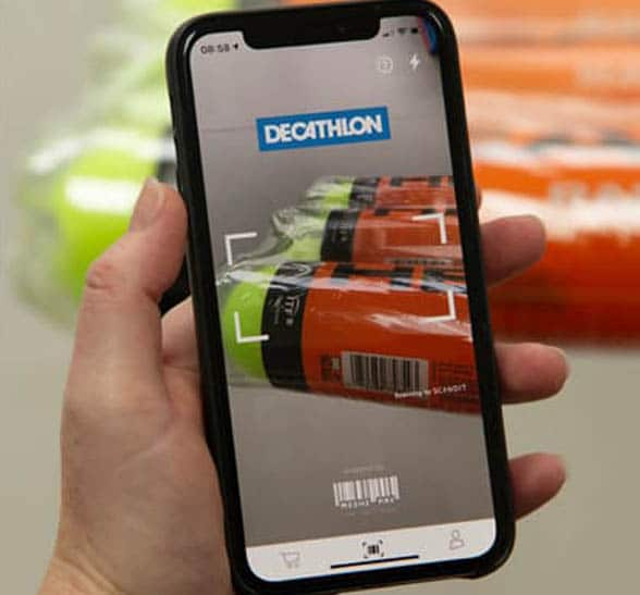 Smartphone showing Decathlon app