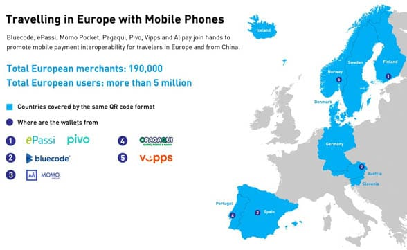 Map of western europe showing where Alipay QR code mobile wallets can be used