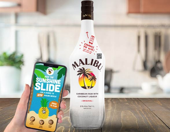Malibu bottle and smartphone