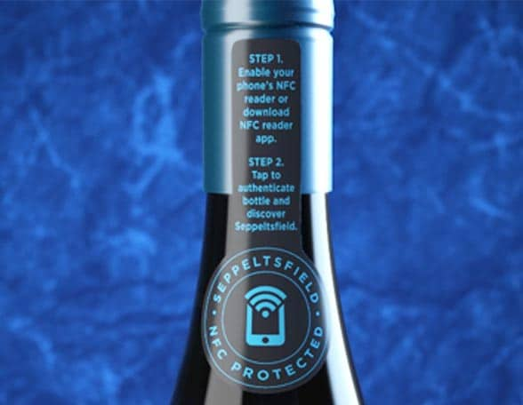 blue wine bottle