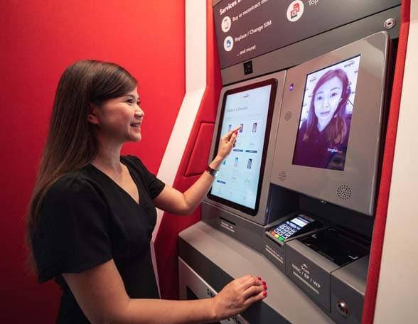 woman at video screen