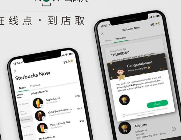 Starbucks app on smartphones