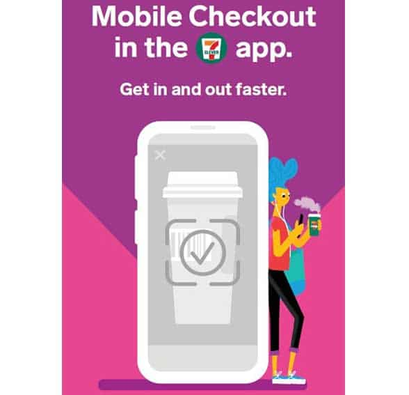 7-11 graphic of mobile phone with person leaning against it