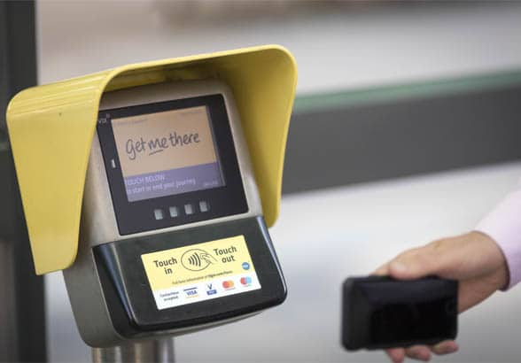 Contactless reader and hand with phone