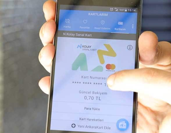 Smartphone screen showing ankarakart transit pass