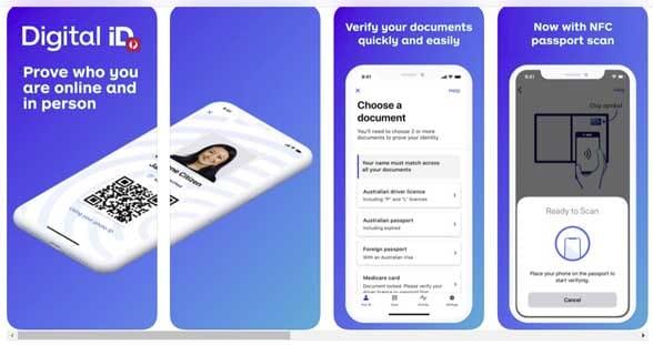 4 AusPost smartphone screens advertising DigitaliD
