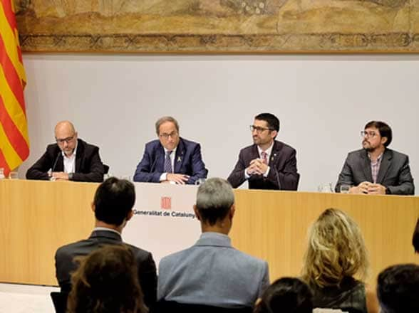 Catalan president torra at head of meeting