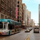 Tram on road in Detroit, USA