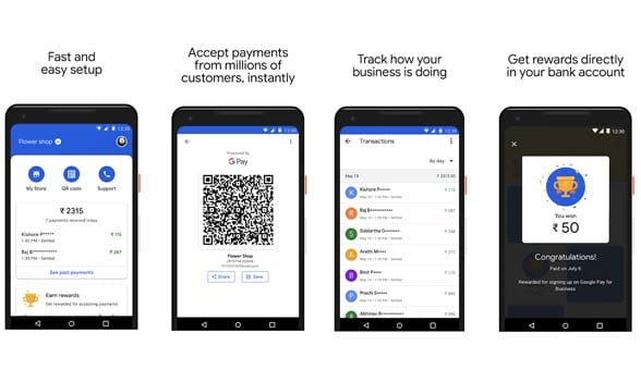 Four smartphones being used for GooglePay transactions