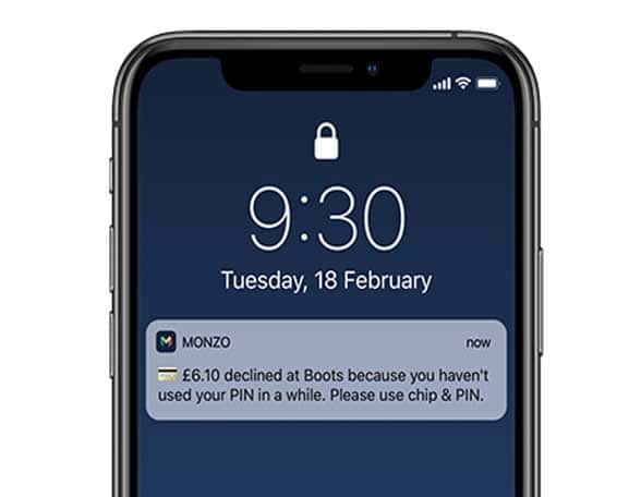 Smartphone with Monzo chip&PIN notification
