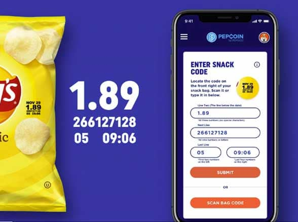 Bag of Lay's crisps and a smartphone with code printed over top