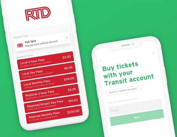 2 smartphone screens showing RTD Transit payment app