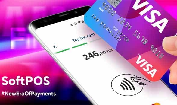 Visa card being passed across smartphone screen