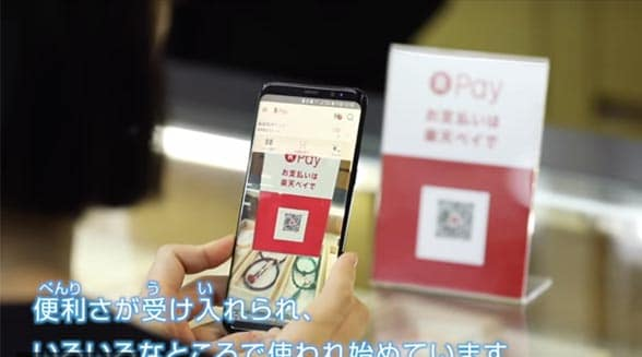 Smartphone paying for goods by qr code with japanese script