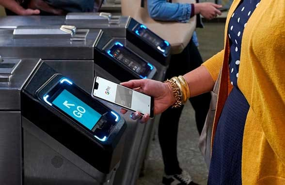 NFC smartphone being read by transit terminal