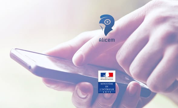 Hand holding smartphone with Alicem and French Ministry of Interior logos over the top