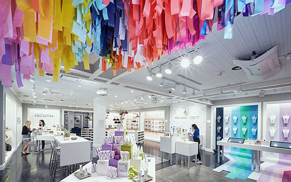 Inside of NFC shop with coloured ribbons hanging from ceiling